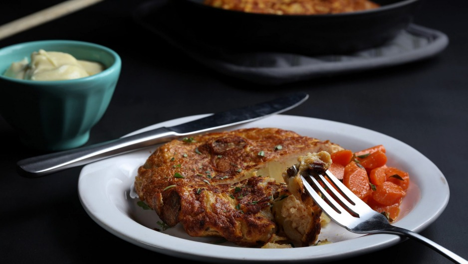 This chorizo and potato tortilla is an ideal anchor for a Spanish tapas menu for eight. The herby garlic carrots in ...