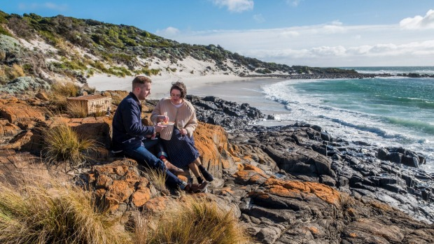 A picnic on the lichen-covered rocks at Bay of Fires.