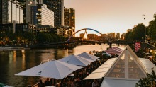 Watch the tennis on the big screen while you eat and drink on the Yarra river at Arbory Afloat.