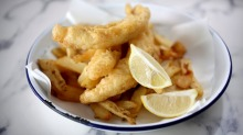 Fresh battered flathead and hand-cut double cooked chips from 'The Fish Joint' Cafe at Brighton Le Sands in Sydney.