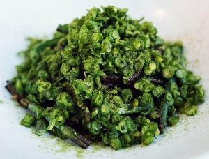 Koji, served here with black rice and snake beans.