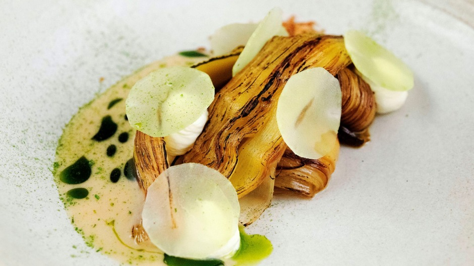 Roast leek, brown butter and celtuce at Yellow restaurant in Sydney.