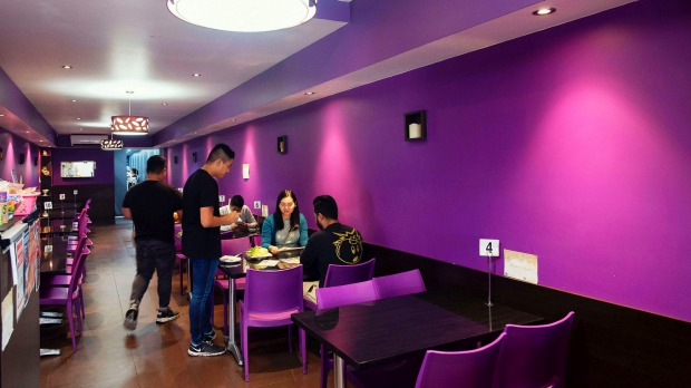 The purple interior of the Fairfield eatery.
