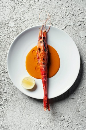 A scarlet prawn served at Ester restaurant in Sydney.