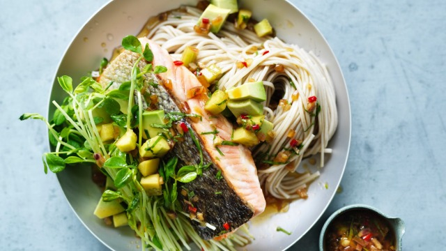 Cool salmon noodles for summer.