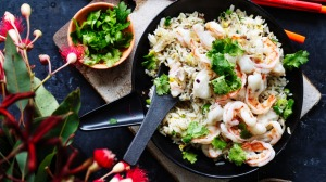 Kylie Kwong's fried rice with plump king prawns.