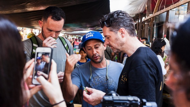 Peruvian chefs Matias Cilloniz (left) and Pedro Schiaffino (centre) help Adelaide-based Jock Zonfrillo (right) identify ...
