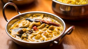 Cashew curry with yellow rice.