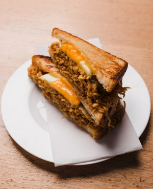 The mi gorgeng toastie at The Dutch Smuggler cafe.