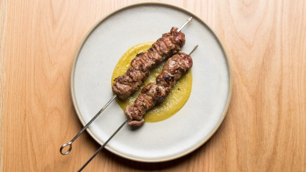 Flinders Island lamb skewers with green chilli.
