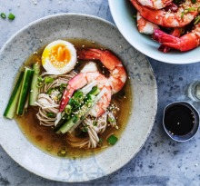 Neil Perry's soba noodles in chilled chicken broth recipe.