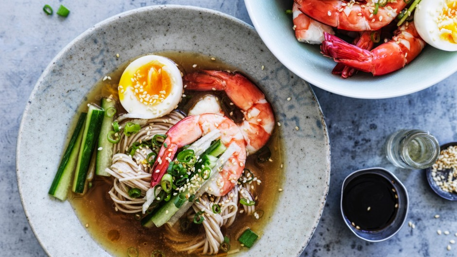 Neil Perry's soba noodles in chilled chicken broth.