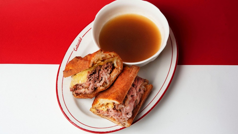 The french dip beef sandwich at Continental Deli CBD.