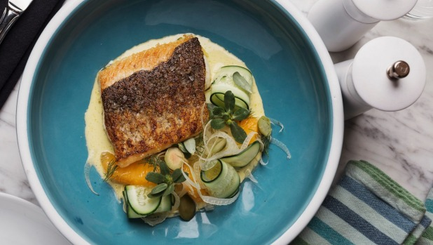 Murray cod with fennel, orange and cucumber.
