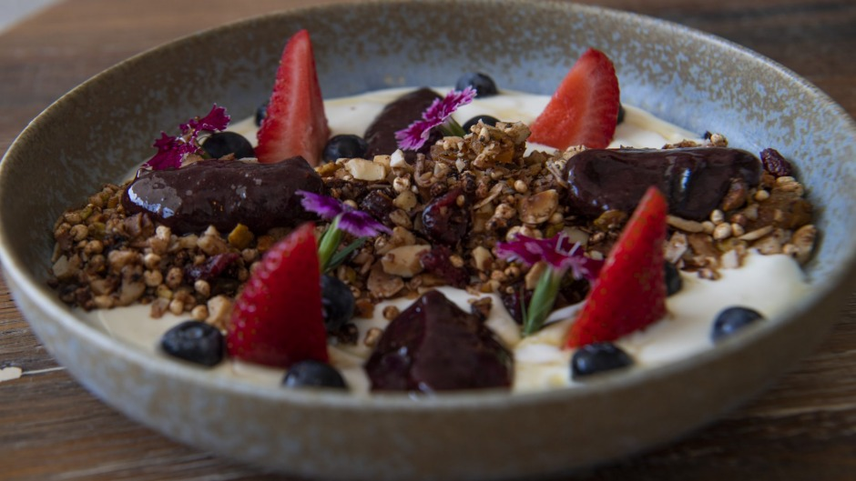 Cacao and puffed quinoa granola at Heart Cafe.