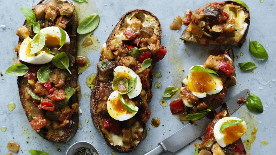 Jammy centred soft-boiled eggs and ratatouille on toast.