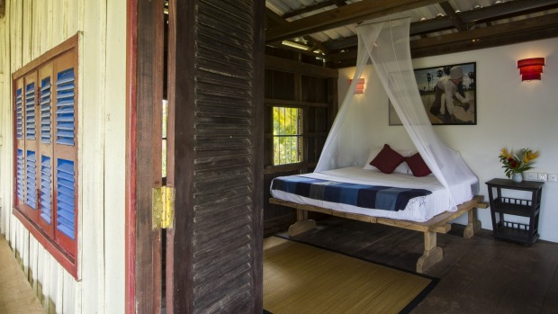 Champa Lodge provides rustic luxury accomodation in a Cambodian wood-stilt home.