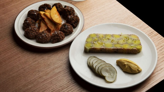 Falafel with apple kimchi; leek terrine with cashew butter and pickles.