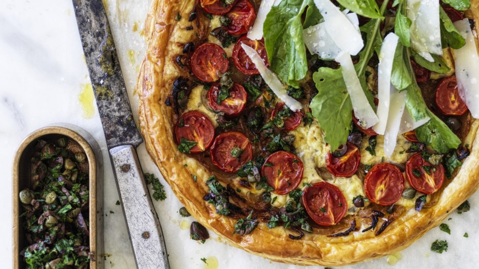 This savoury tart is inspired by the pantry staple pasta sauce.