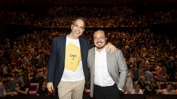 Yotam Ottolenghi in conversation with Good Food recipe contributor Adam Liaw at the Sydney Opera House.