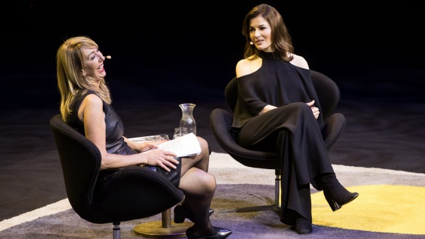 Nigella Lawson (right) in conversation with Maeve O'Meara at the Sydney Opera House this month.