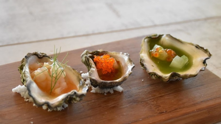 Three flavours of oysters, none of which contains oyster, at Fable Dining Room.