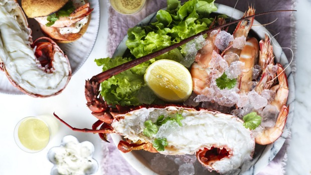 Go all out with Adam Liaw's champagne-poached lobster and prawns.