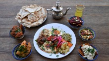 Moroccan Soup Bar's special banquet with mezze dishes.