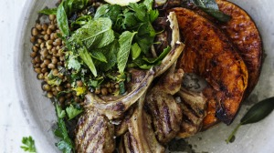 Neil Perry's barbecued lamb chops with roast pumpkin and lentils recipe.