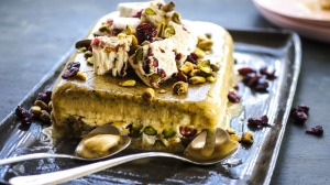 Nutty semifreddo with a central layer of nougat shards.