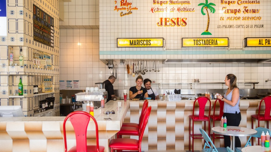 Inside the colourful Collingwood taqueria.