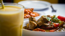 Mango Chicken, Fijian Pork and Mango Lassi. Photo Elesa Kurtz