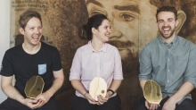 From left: Winner of the Australian Barista Championships Matthew Lewin, Brewer's Cup Champion Yanina Ferreyra, and Hugh ...