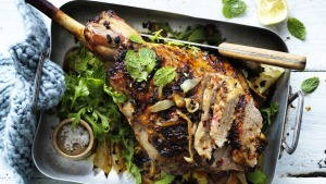 Lemon-brined lamb with mint salad.