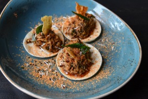Wacky quacky: South Indian spiced pulled duck 'tacos' on mini chapatis.