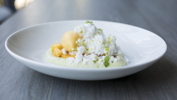 Coconut ice, pandan cream, mango sorbet, young coconut and diced mango.