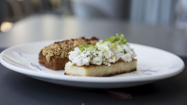 Prawn toast and tangy spanner crab finger sandwich.