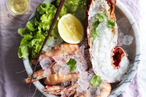 Adam Liaw recipe: A romantic bucket of lobster and prawns.