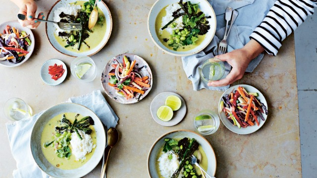 Soy roasted broccoli green curry and Thai slaw.