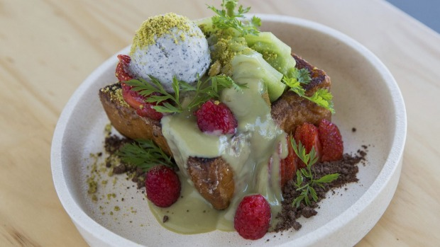 Shibuya-style honey toast with matcha custard, black sesame ice-cream, fruit and flowers.