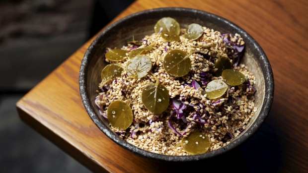 SYDNEY, AUSTRALIA, GOODFOOD,  February 14 : Mother-in-Law salad- cabbage, maple mayo, sesame caper leaf at Barzaari Chippendale on February 14, 2019 in Sydney, Australia.  (Photo by Christopher Pearce/SMH)