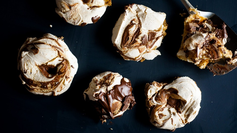Vegan-friendly chocolate ripple meringues made with aquafaba (see recipe below).