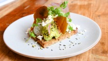 Scandi smashed avo: Open sandwich with avocado and dehydrated Vegemite.
