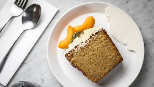 Desserts steer straight down the line - a slice of daily cake with vanilla labna.