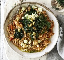 Jill Dupleix's tomato risoni with silverbeet, feta, walnuts and honey.