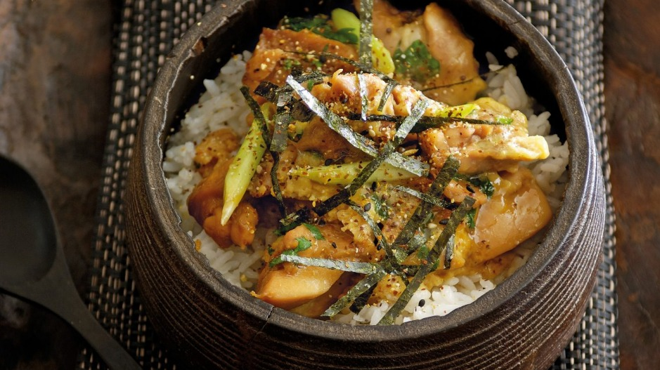 Japanese rice bowl with chicken.