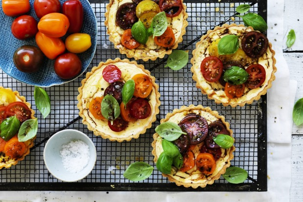 Neil Perry's goat's curd tartlets with heirloom tomato salad <a ...