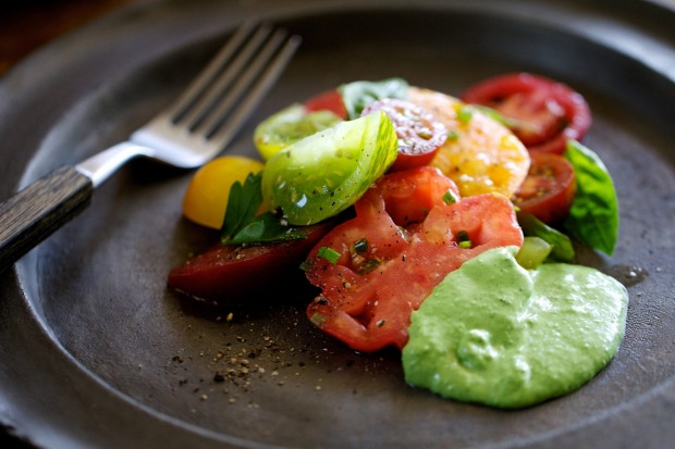 Tomatoes with green goddess dressing <a ...