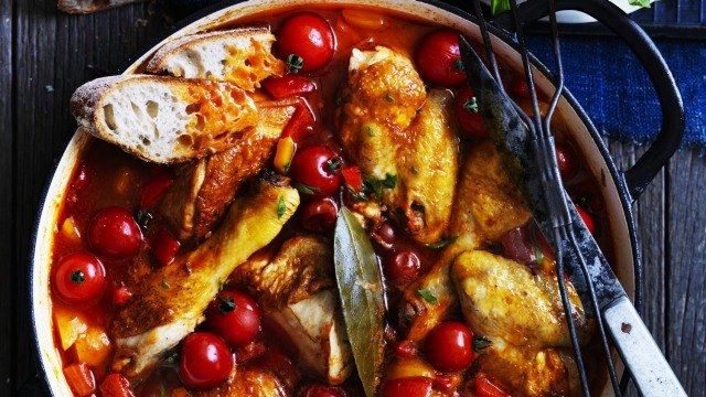 Neil Perry's Italian chicken with capsicums and summer tomatoes.