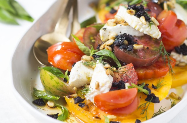 Karen Martini's tomato salad with ricotta, dried olives and pinenuts <a ...